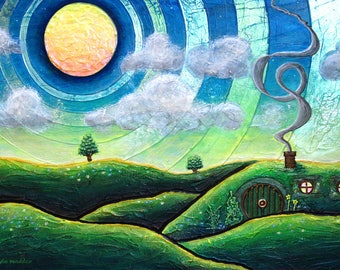 The Shire - 5x7 inch metallic photographic print of painting : Tolkien's fantasy landscape from Lord of The Rings and The Hobbit