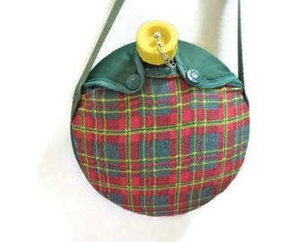 Vintage 1970's Girl Scout Canteen In Plaid Carrying Case
