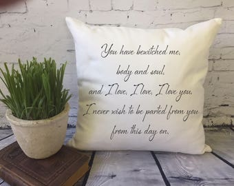 Mr. Darcy quote throw pillow cover, pride and prejudice quote throw pillow cover, you have bewitched me, second anniversary gift