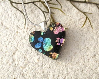 Petite Paw Heart Necklace,Rainbow Paw Print, Fused Glass Jewelry, Paw Heart Pendant, Dog Paws, Cat Paws, ccvalenzo, OOAK, 092517p104