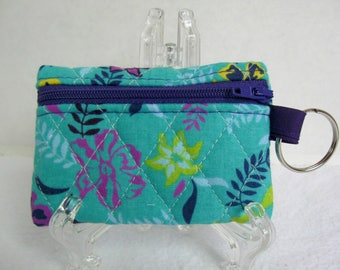 Floral Quilted Coin Purse - Purple Blue Change Purse - Small Zippered Pouch - Coin Purse Key Chain - Ear Bud Case