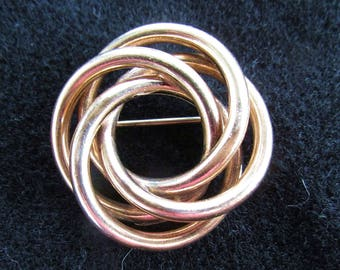 12K Yellow Gold Filled Vintage Victorian Revival Love Knot Brooch Pin Alice Caviness
