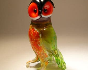 Blown Glass Figurine Art  Bird Green and Red OWL with Folded Wings