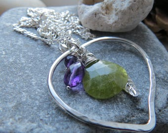 Sterling Silver Frame Pendant with Vesuvianite, Amethyst and Leaf Dangle