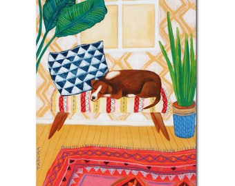 Original dog portrait painting modern folk art boho decor dog art interior design painting plant art and rug art by Tascha 14x11 inches