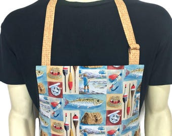 Fly Fishing Apron for Men , Cabin Kitchen Decor / Fishing Rods , Tackle , Bobbers , Professional Chef Apron , Adjustable with Pocket