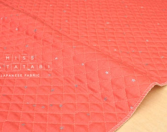 Japanese Fabric - Kobayashi starry pre-quilted double gauze - coral pink, metallic silver - 50cm