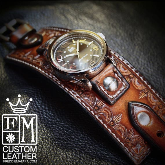 Leather cuff Watch Vintage sunburst leather watchband - handstitched leather watch band Made for YOU in NYC by Freddie Matara