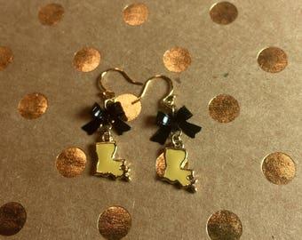 Black and Gold Louisiana Bow Dangle Earrings