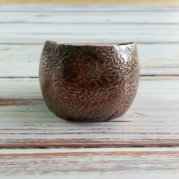 Rambling Rose Copper Cuff- Floral Cuff, Wide Cuff