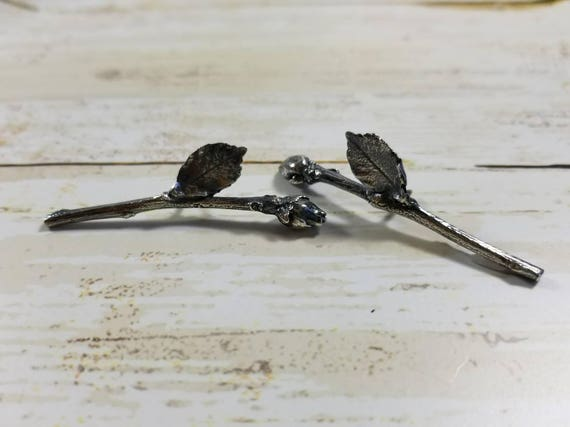 One Sterling Silver Twig and Rosebud Brooch Pin-Twig Jewelry