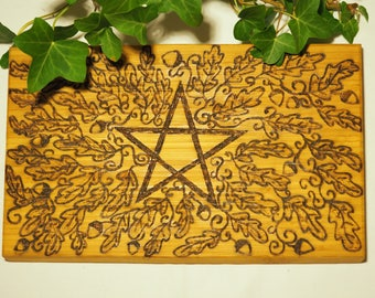 Oak Leaf & Pentagram Offering Plate - Altar Piece - Altar Board - Pagan, Wicca, Witchcraft, Pentacle