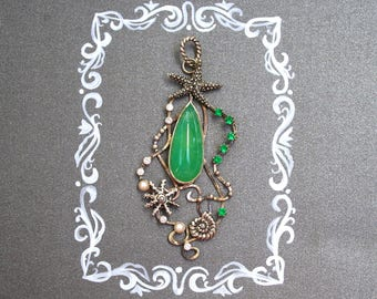 Chrysoprase necklace. Silver pendant with green stone and starfish.