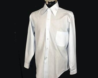 Men's Vintage Long Sleeve Dress Shirt, 1960's, Light Blue, Penn-Prest, Cotton Blend, Medium
