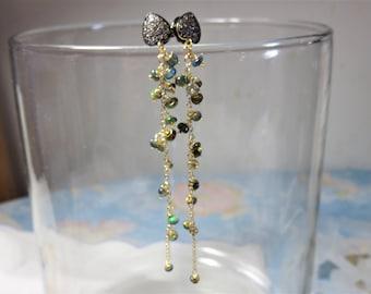 Oxidized Sterling Silver White Topaz Vermeil Gold Earring Posts,Green Fire Opal, 22K Vermeil Gold Earring