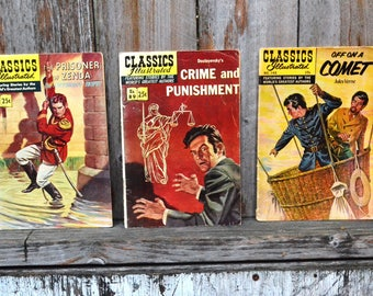 Set of three CLASSICS ILLUSTRATED Vintage Comics from 1968 and 1969