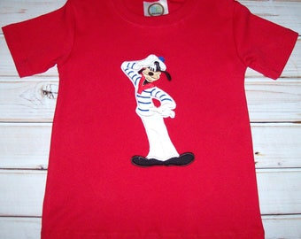 Sample SALE Boys Red S/S Goofy Sailor Shirt Size 3T--Sailor--Cruise--Vacation--Ready To Ship