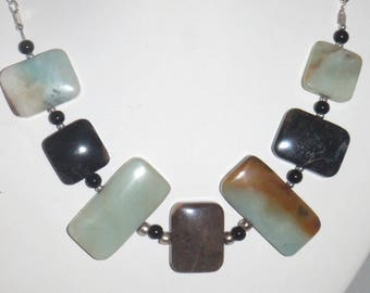 Black Gold Amazonite and Silver Choker Necklace