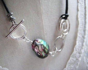 Abalone Necklace, Sterling Silver, Abalone Bead, Genuine Leather, Sterling Swirls, Candies64