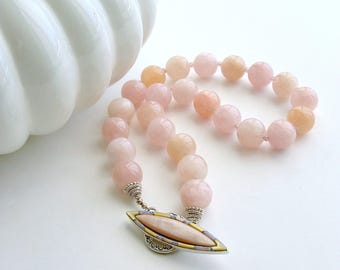 Morganite Beryl Pink Zircon Mother of Pearl Opal Choker Necklace - Dahlia III Necklace