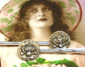 1800s BUTTON hair pins, French Victorian FLOWERS, gold on silver. Bobby pins, hair grips.