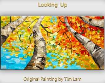 Tree Art, Wall Decor, One-of-a-kind Modern Landscape Wall Panel Mixed Media painting ---- Looking up forest skyline --- Tim Lam 48 x 24