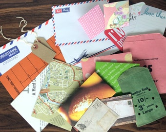 Junk Journal Bundle of Envelopes and Tags - 20 pieces - Vintage Coin Bags, Project Life Cards, Handmade Envelopes