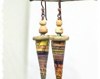 Rustic cone earrings, Funky assemblage earrings, Long statement earrings, Festival earrings, Gypsy earrings, Tribal earrings,