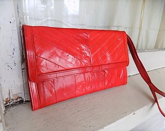 Vintage Candy Apple Red Eel Skin Clutch Purse Handbag