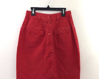 Vintage Cherry Red High Waisted Skirt