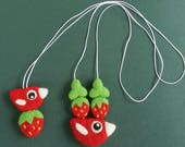 RESERVED Red green necklace needle felted birdie bird strawberry strawberries