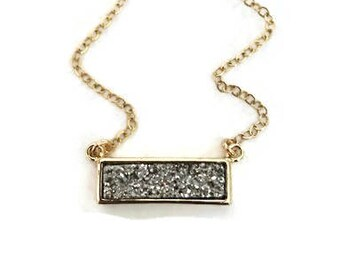 Titanium druzy bar pendant with gold bezel necklace, Perfect gift for her!