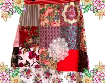 Patchwork / Vintage Fabric A-Line Skirt - Handmade Clothing by DearLisaUk - Red / Pink / Natural Tones.