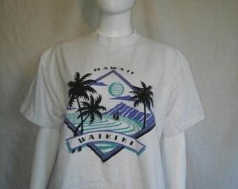 Closing Shop 40%off SALE Waikiki Hawaii t shirt, ocean beach palm trees sail boat