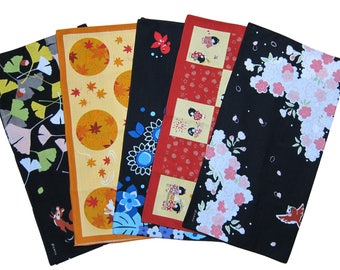 Set of Five Different Furoshiki Wrapping Cloths Cotton Japanese Fabric 50cm w/Free Insured Shipping