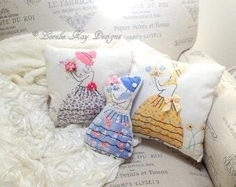 Handmade  Doll Pillow Vintage Linens Bonnet Girl Pillow Romantic Shabby Decor Small Decorative Girl Accent Pillow