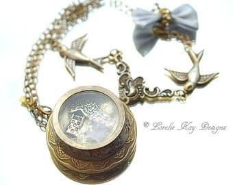 Make A Wish Frozen Charlotte Doll Locket Necklace Antique Look Photo Locket Assemblage Pendant Lorelie Kay Original