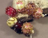 Handmade Lampwork Beads by Monaslampwork - Pretty in Pink - Lampwork Glass by Mona Sullivan Ivory Organic Boho Tribal