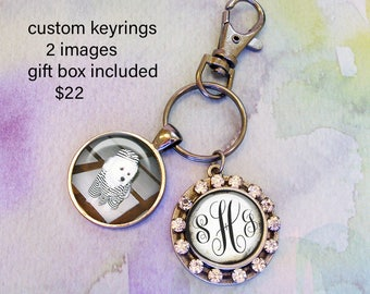 Personalized keyrings with bling,  custom keyrings with two images,  pet photos, monogram, kids drawings, baby photos etc, bridal gifts