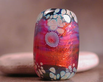 Art Glass Focal Bead Lampwork Fire Opal Series Lampwork Focal Bead Divine Spark Designs SRA