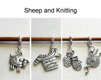 Progress Keepers, Removable Stitch Markers, Knitting Markers, Crochet Markers, Zipper Pull Charms - Set of 4 - Sheep and Knitting
