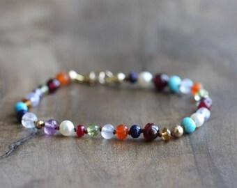 Multi gemstone bracelet - hand knotted turquoise, garnet, ruby, carnelian, peridot, moonstone, chalcedony, amethyst, citrine bracelet