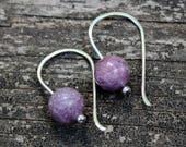 Lepidolite sterling silver dangle earrings