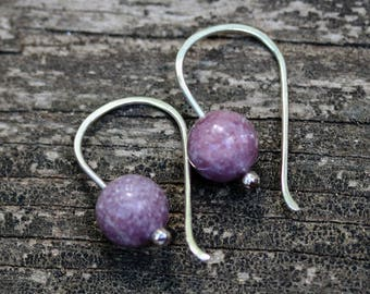 Lepidolite sterling silver dangle earrings