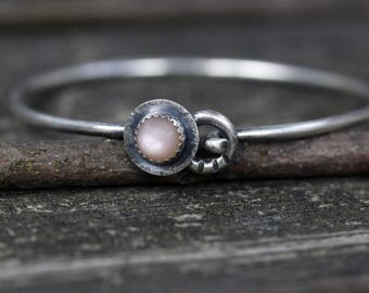Rustic peach moonstone sterling silver bangle bracelet