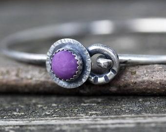 Rustic phosphosiderite sterling silver bangle bracelet