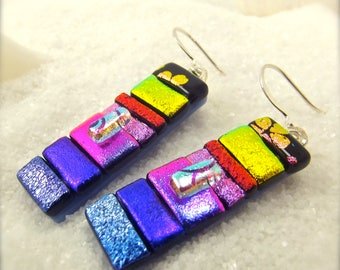 Fused glass art, dichroic glass earrings, dichroic glass jewelry, trending now, earrings handmade, Hana Sakura, fusion glass, fused glass