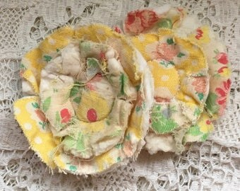2 upcycled fabric flowers, cottage chic flower, gift top, lot flower supplies scrap flowers shabby upcycled quilt flower scrap appliques #50