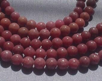 natural gemstone rosy pink rhodonite smooth round bead 10 mm / 11 inch