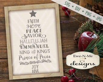 Christmas Tree Words SVG - Christmas Words svg - Tree Shaped SVG - Jesus svg - Christmas SVG - Commercial Use svg, dxf, png, jpg